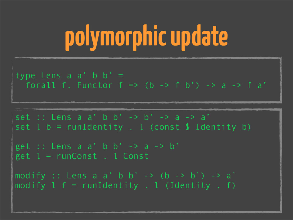 ! type Lens a a' b b' = forall f. Functor f => ...