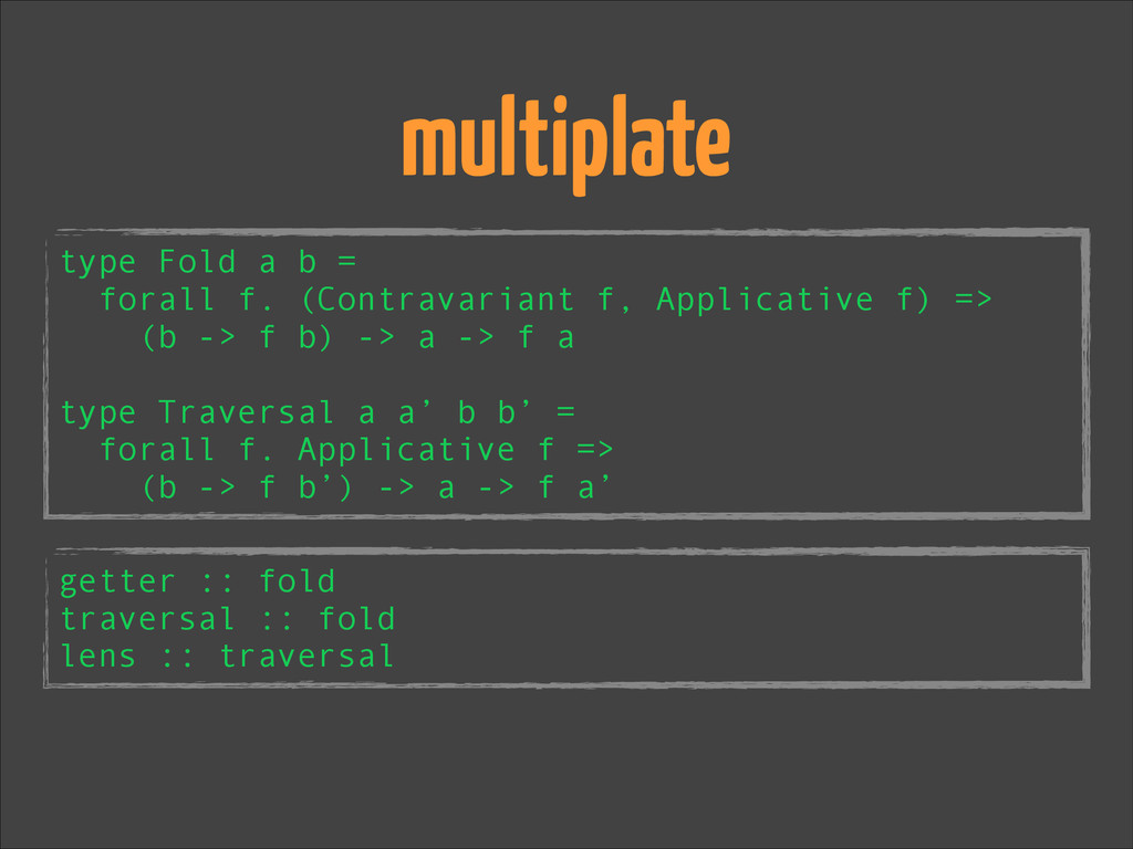 multiplate type Fold a b = forall f. (Contravar...