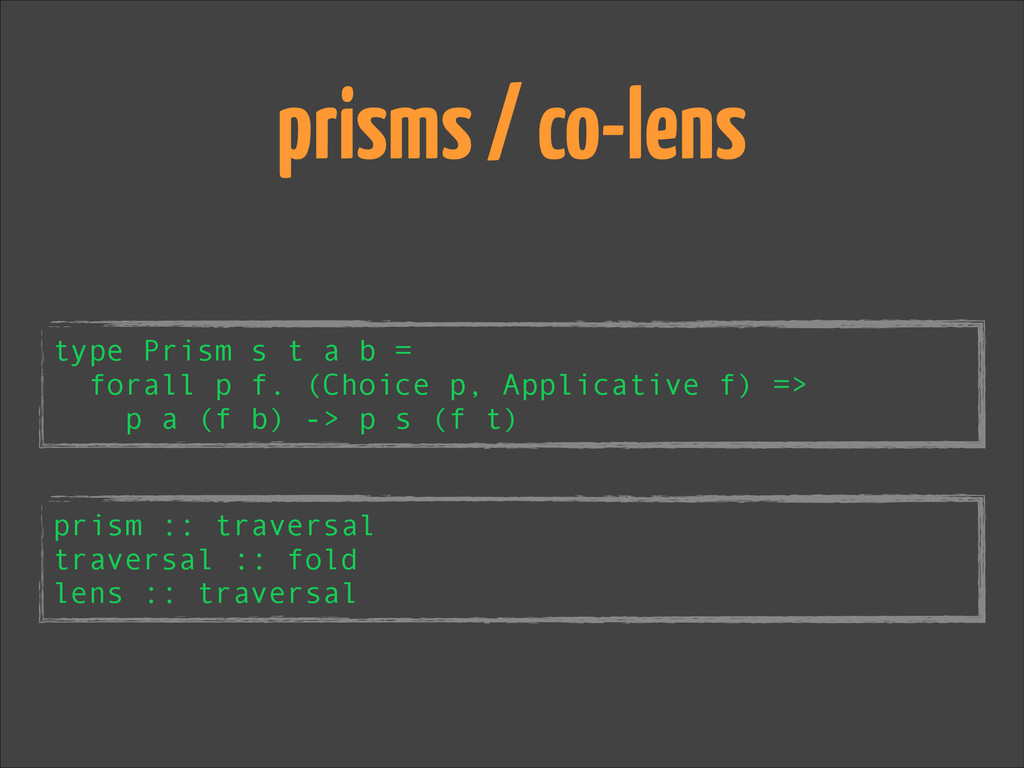 type Prism s t a b = forall p f. (Choice p, App...
