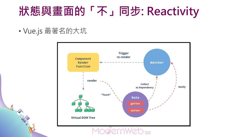 狀態與畫面的「不」同步: Reactivity • Vue.js 最著名的大坑
