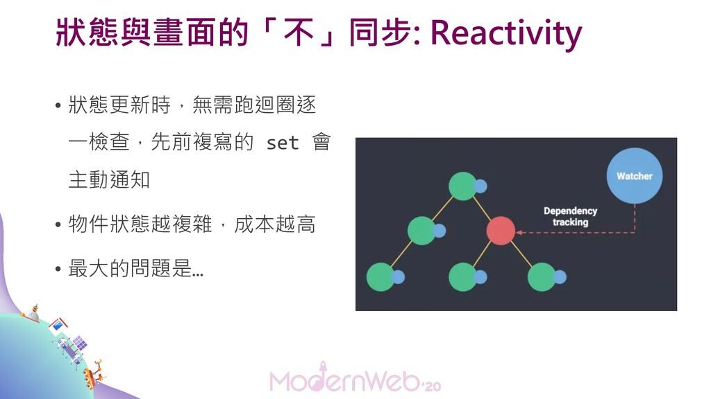 狀態與畫面的「不」同步: Reactivity • 狀態更新時,無需跑迴圈逐 一檢查,先前複寫...