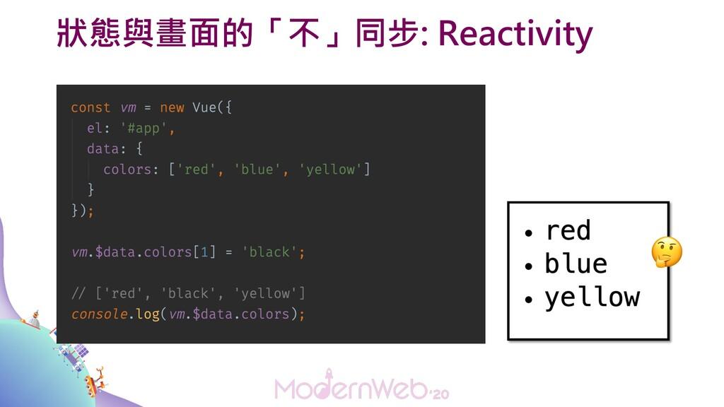 狀態與畫面的「不」同步: Reactivity