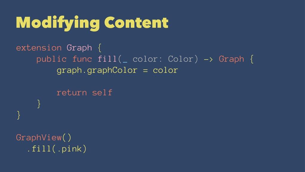Modifying Content extension Graph { public func...