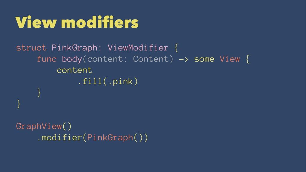 View modifiers struct PinkGraph: ViewModifier { ...