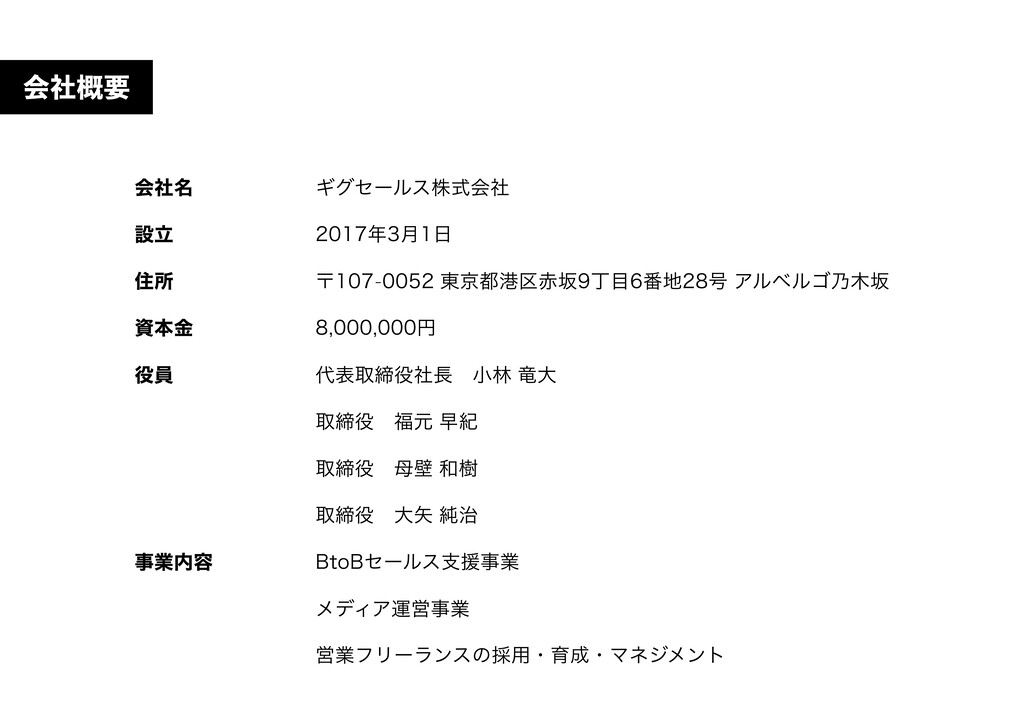 会社名 設⽴ 住所 資本⾦ 役員 事業内容 ギグセールス株式会社 2017年3⽉1⽇ 〒107...