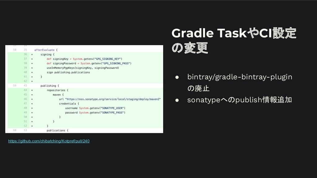 Gradle TaskやCI設定 の変更 ● bintray/gradle-bintray-p...
