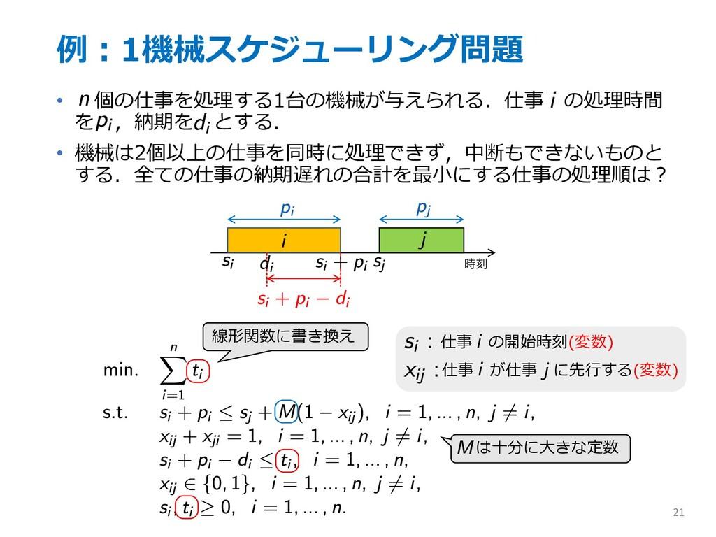 例︓1機械スケジューリング問題 • 個の仕事を処理する1台の機械が与えられる.仕事 の処理時間...