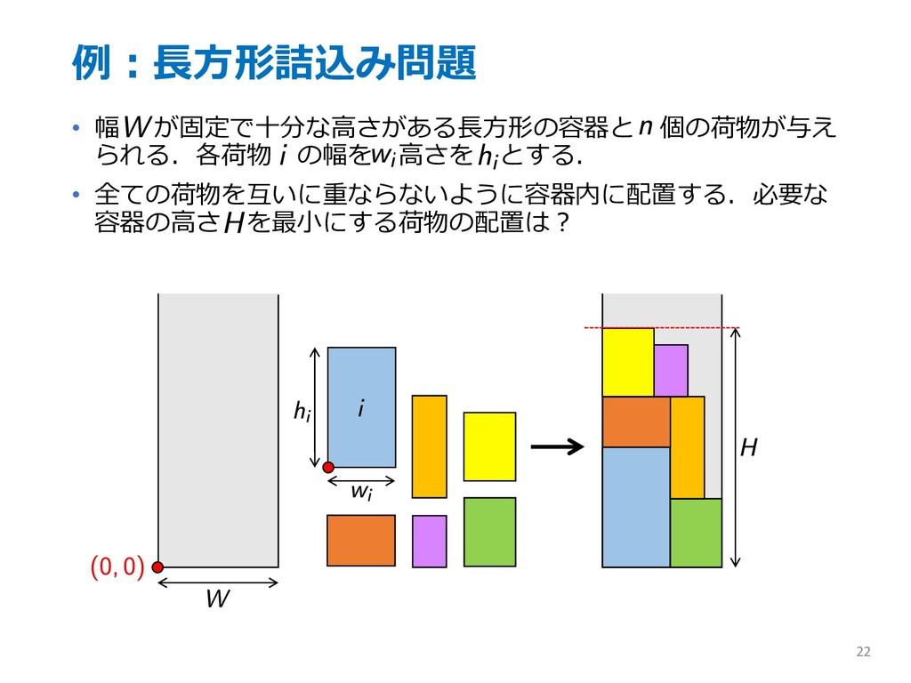 例︓⻑⽅形詰込み問題 • 幅 が固定で⼗分な⾼さがある⻑⽅形の容器と 個の荷物が与え られる....