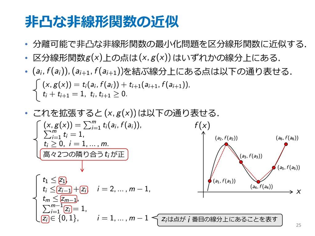 ⾮凸な⾮線形関数の近似 • 分離可能で⾮凸な⾮線形関数の最⼩化問題を区分線形関数に近似する. ...