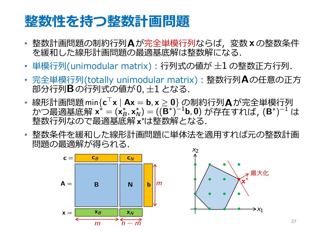 整数性を持つ整数計画問題 • 整数計画問題の制約⾏列 が完全単模⾏列ならば,変数 の整数条件 ...