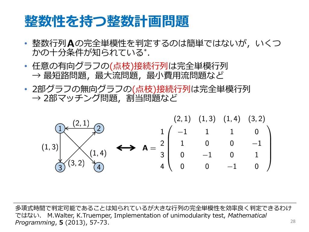 整数性を持つ整数計画問題 • 整数⾏列 の完全単模性を判定するのは簡単ではないが,いくつ かの...