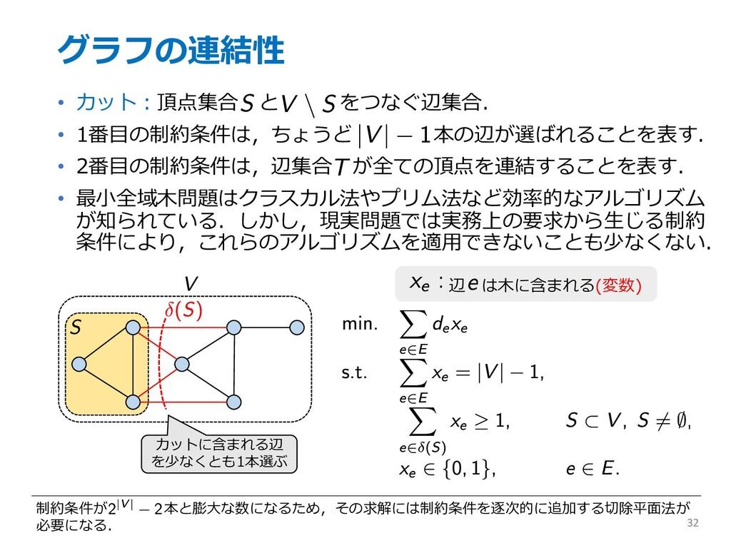 グラフの連結性 • カット︓頂点集合 と をつなぐ辺集合. • 1番⽬の制約条件は,ちょうど ...
