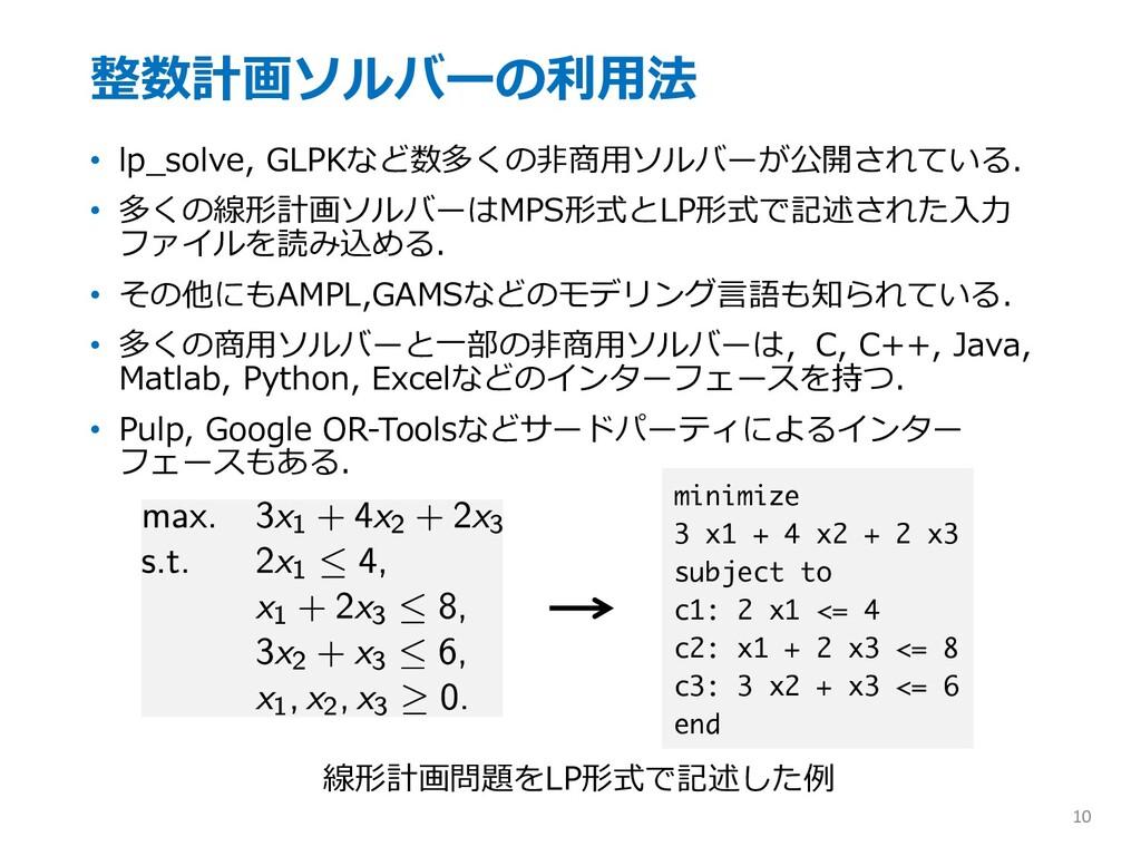 整数計画ソルバーの利⽤法 • lp_solve, GLPKなど数多くの⾮商⽤ソルバーが公開され...