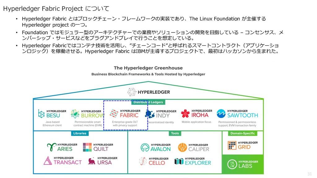 31 Hyperledger Fabric Project について • Hyperledge...