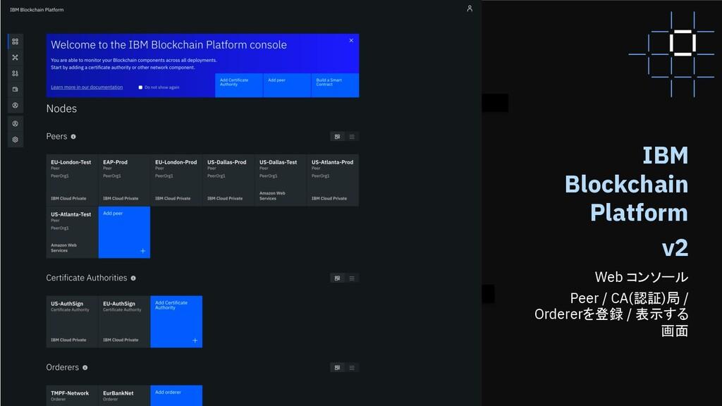 55 55 IBM Blockchain Platform v2 Web コンソール Peer...