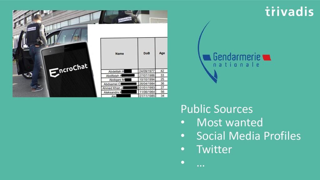 Public Sources • Most wanted • Social Media Pro...