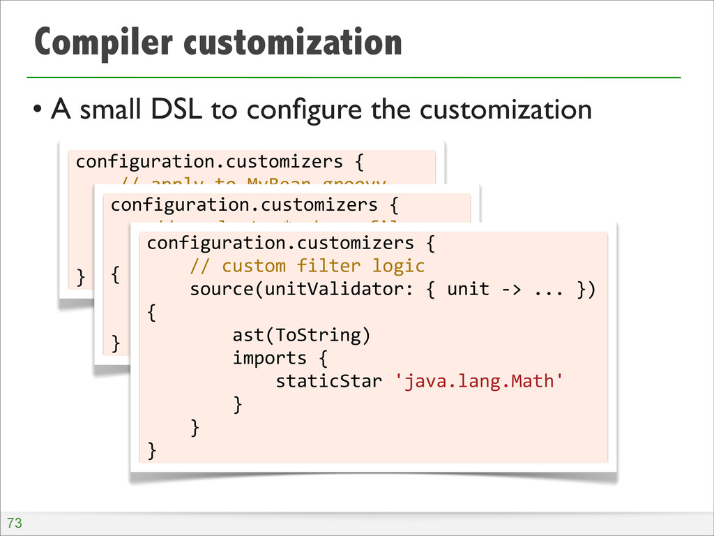 Compiler customization • A small DSL to configur...