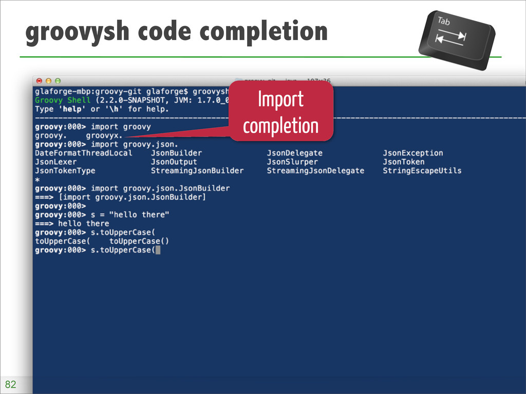 groovysh code completion Import completion 82