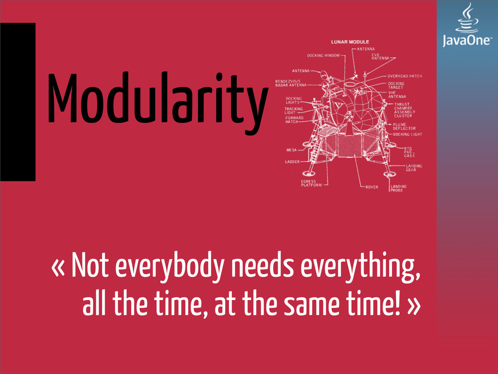Modularity « Not everybody needs everything, al...