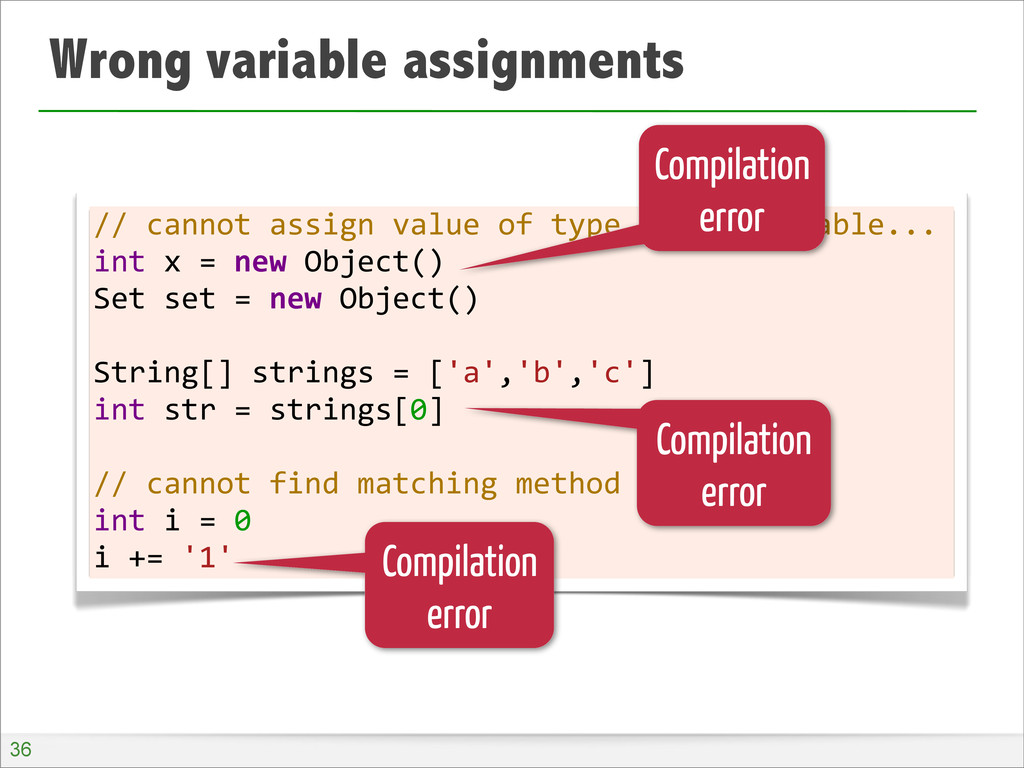 Wrong variable assignments //	