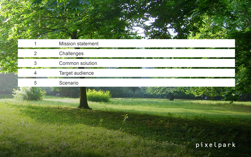 1 Mission statement 2 Challenges 3 Common solut...