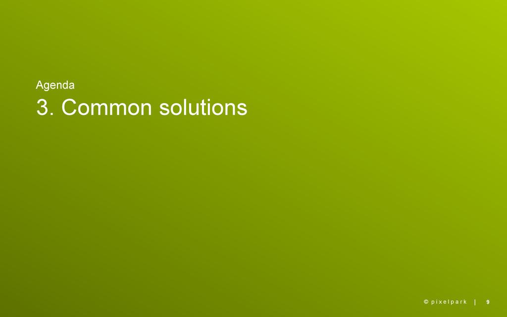 | Agenda 3. Common solutions 9 © p i x e l p a ...