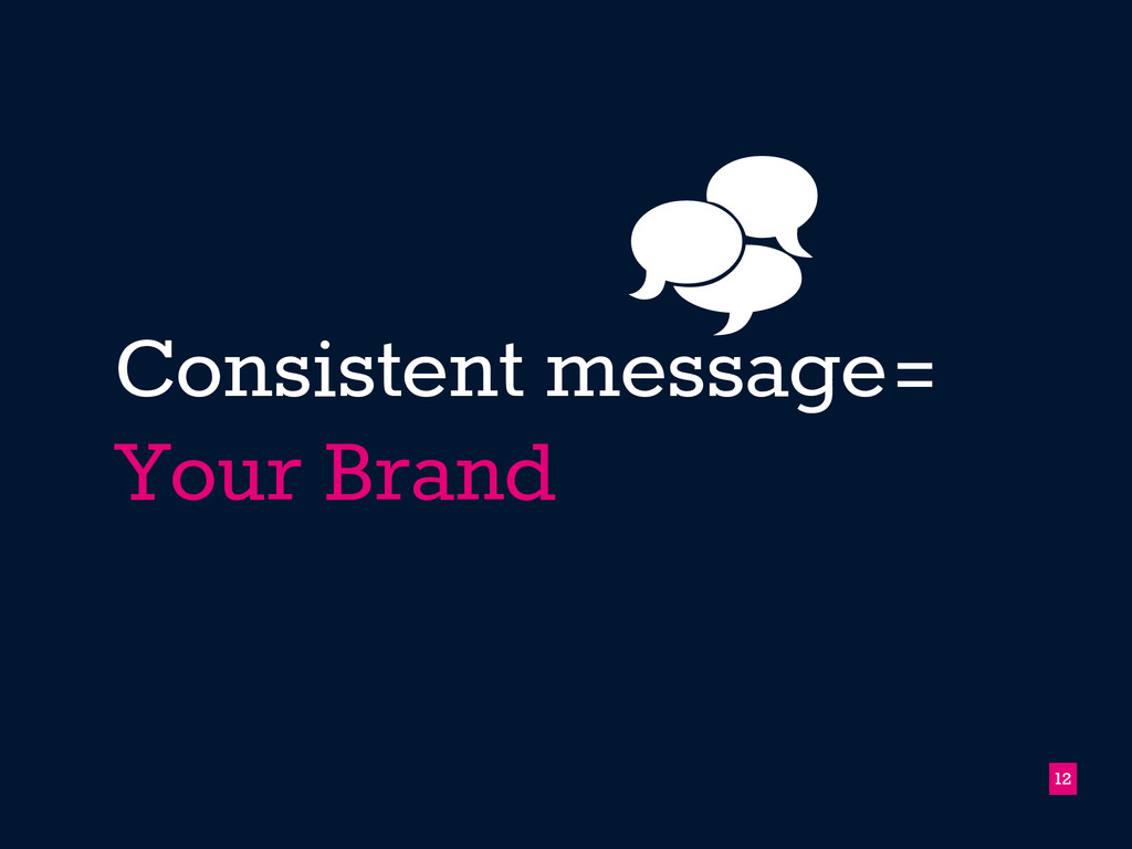 Consistent message= Your Brand !12