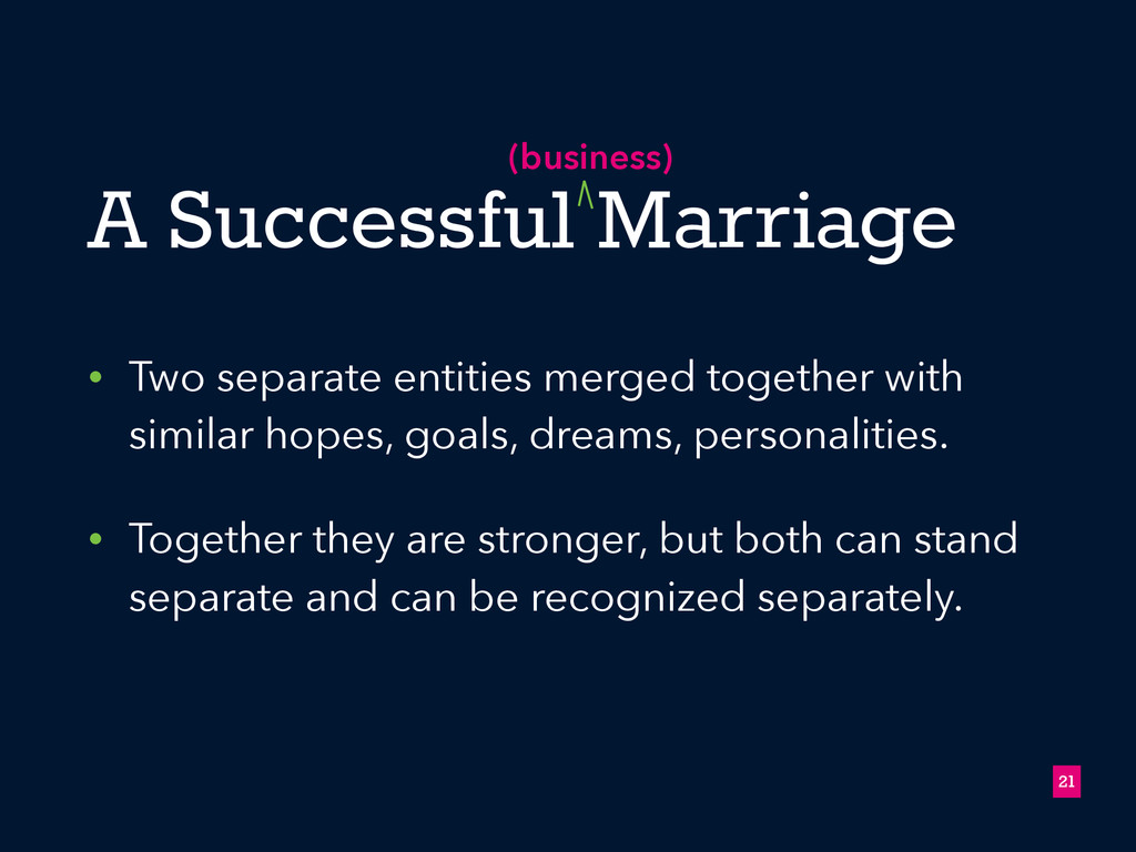 A Successful Marriage • Two separate entities m...