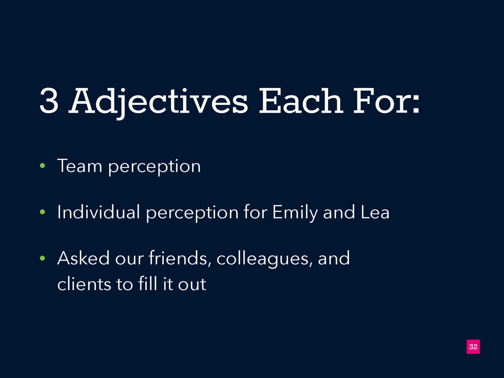 3 Adjectives Each For: • Team perception • Indi...