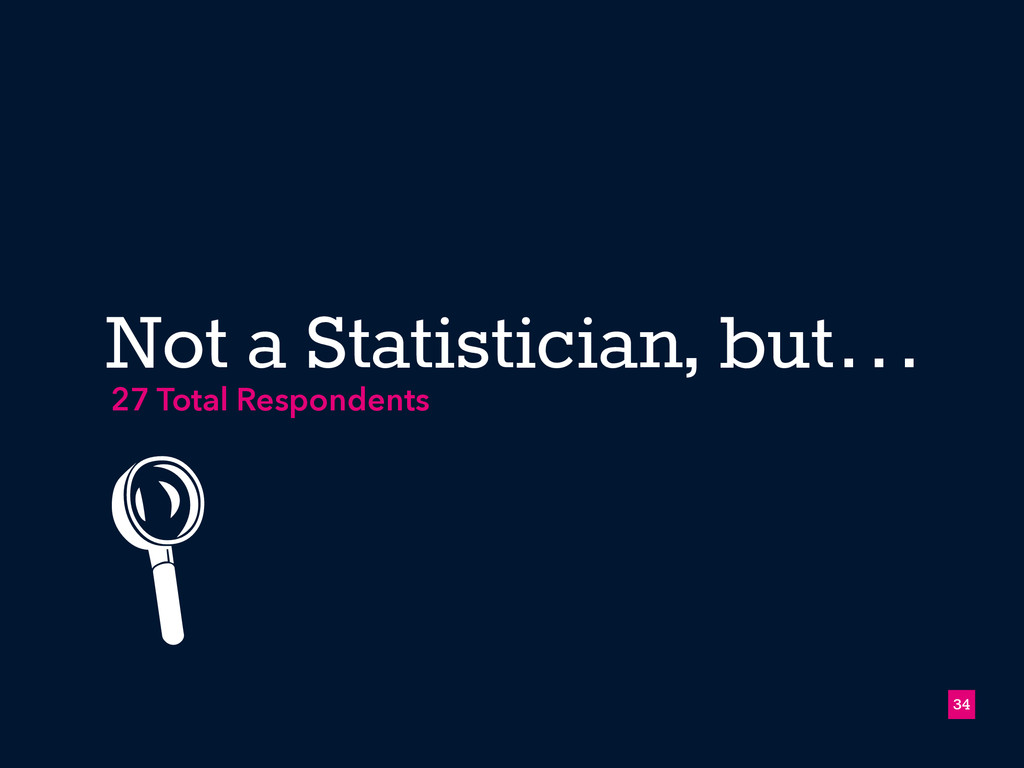 Not a Statistician, but… !34 27 Total Responden...