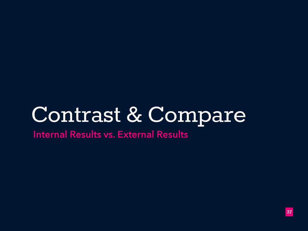 Contrast & Compare !37 Internal Results vs. Ext...