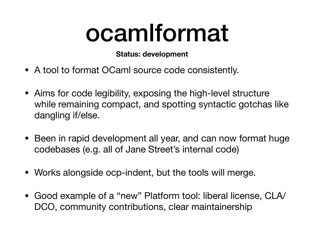 ocamlformat • A tool to format OCaml source cod...