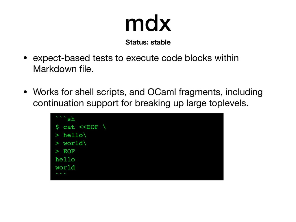 mdx • expect-based tests to execute code blocks...
