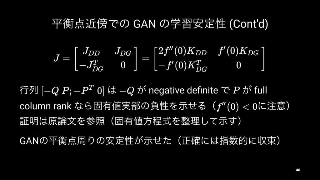 ฏߧۙͰͷ GAN ͷֶश҆ఆੑ (Cont'd) ߦྻ  ͕ negative defi...