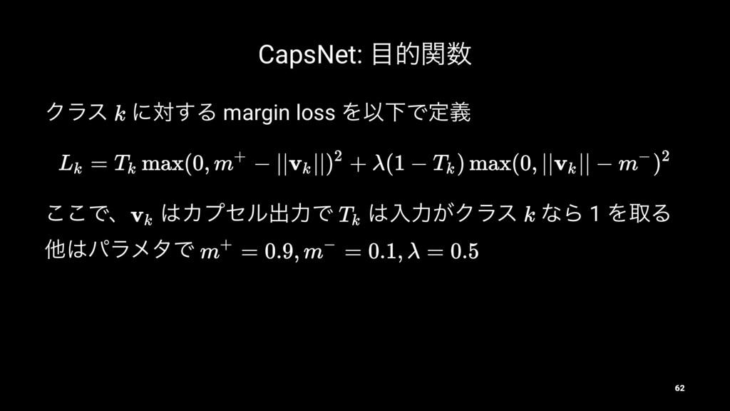 CapsNet: తؔ Ϋϥε ʹର͢Δ margin loss ΛҎԼͰఆٛ ͜͜Ͱɺ ...