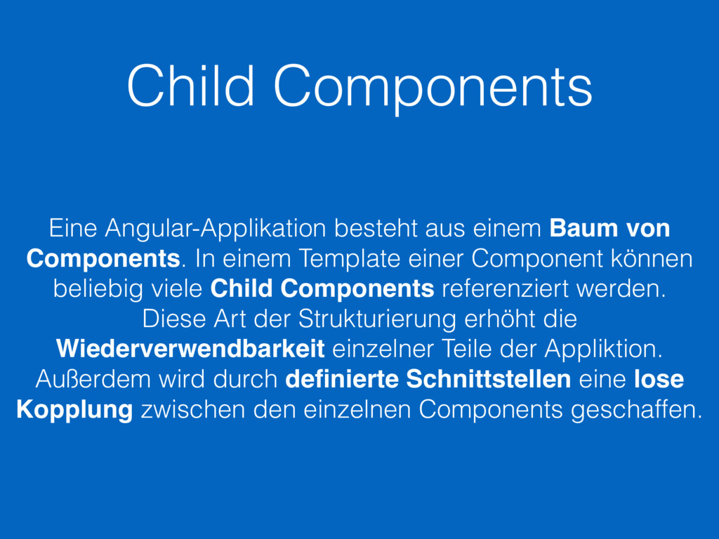 Child Components Eine Angular-Applikation beste...