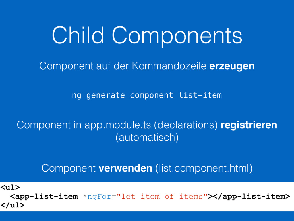Child Components ng generate component list-ite...