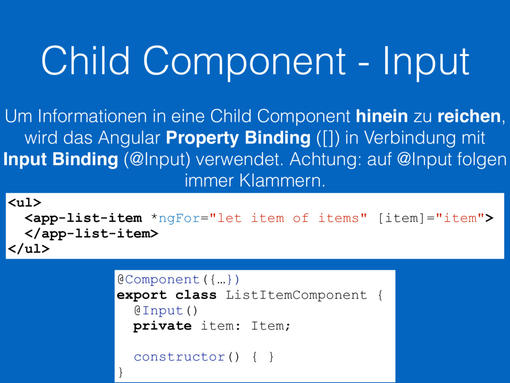 Child Component - Input Um Informationen in ein...