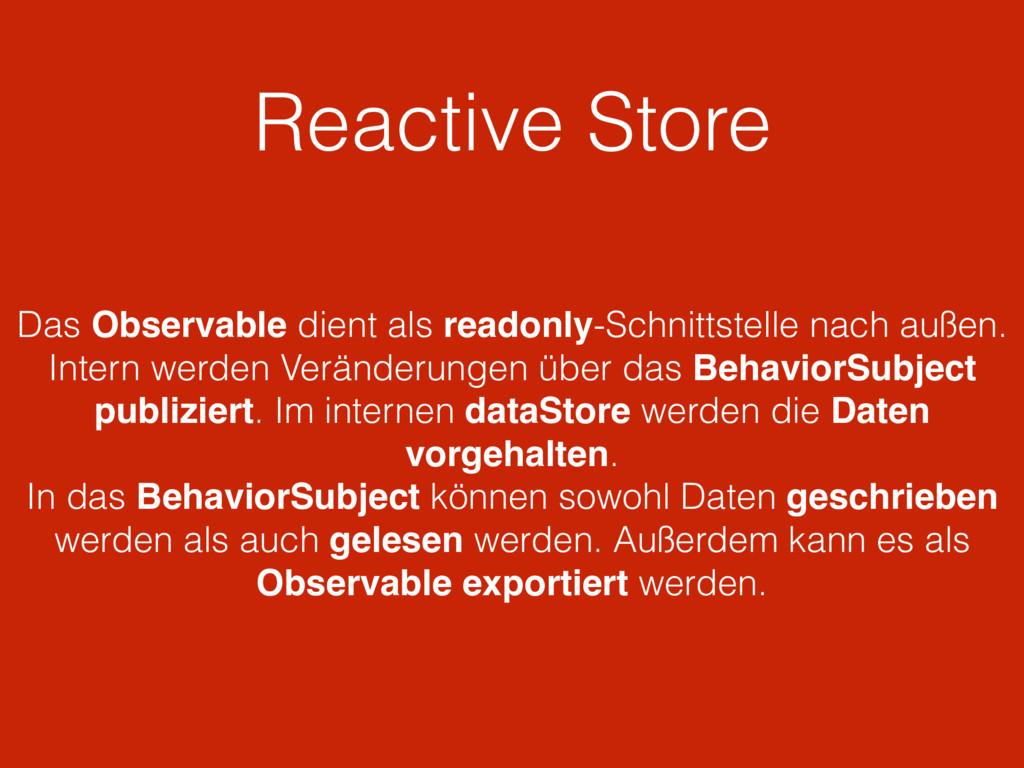 Reactive Store Das Observable dient als readonl...