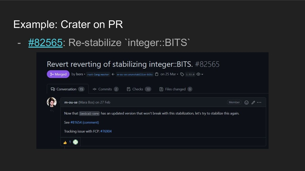 Example: Crater on PR - #82565: Re-stabilize `i...