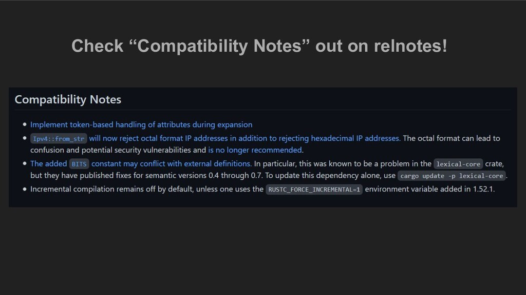 """Check """"Compatibility Notes"""" out on relnotes!"""
