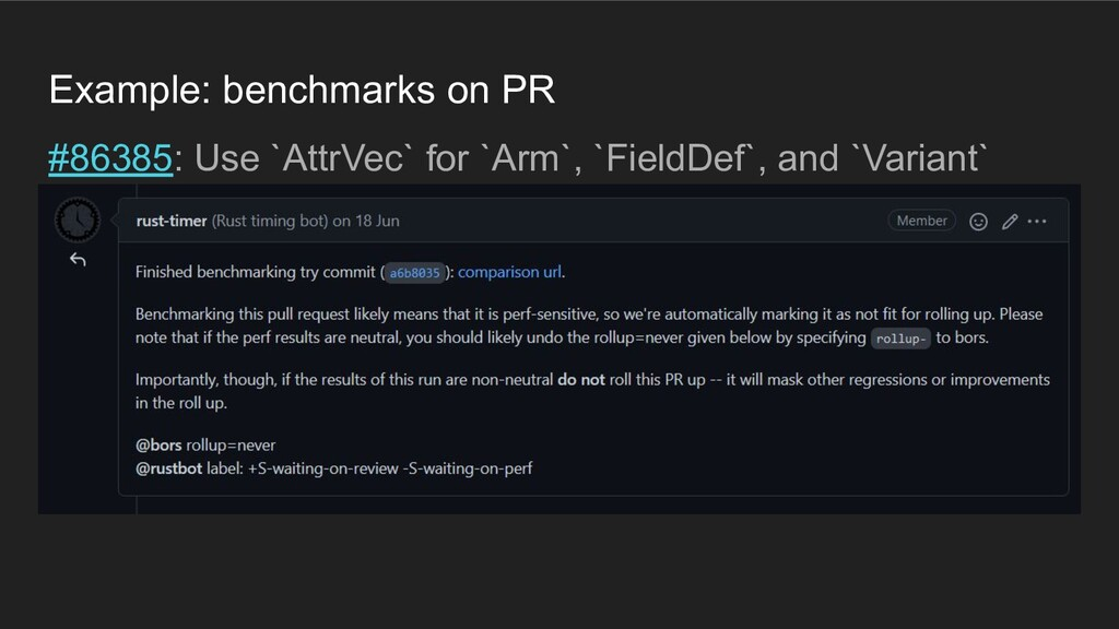 Example: benchmarks on PR #86385: Use `AttrVec`...