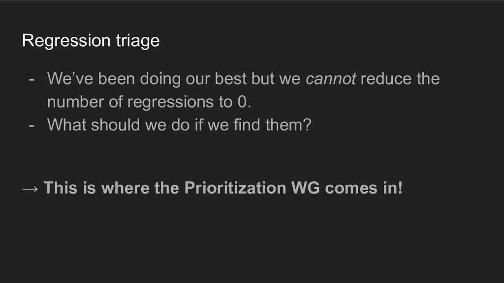 Regression triage - We've been doing our best b...