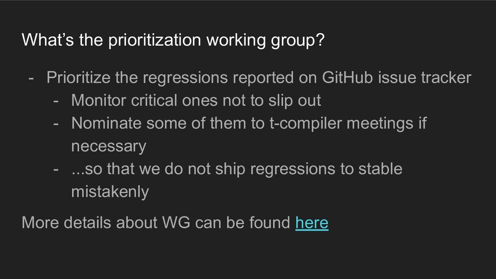 What's the prioritization working group? - Prio...