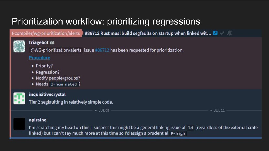 Prioritization workflow: prioritizing regressio...