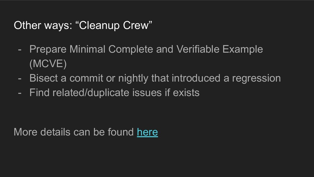 """Other ways: """"Cleanup Crew"""" - Prepare Minimal Co..."""