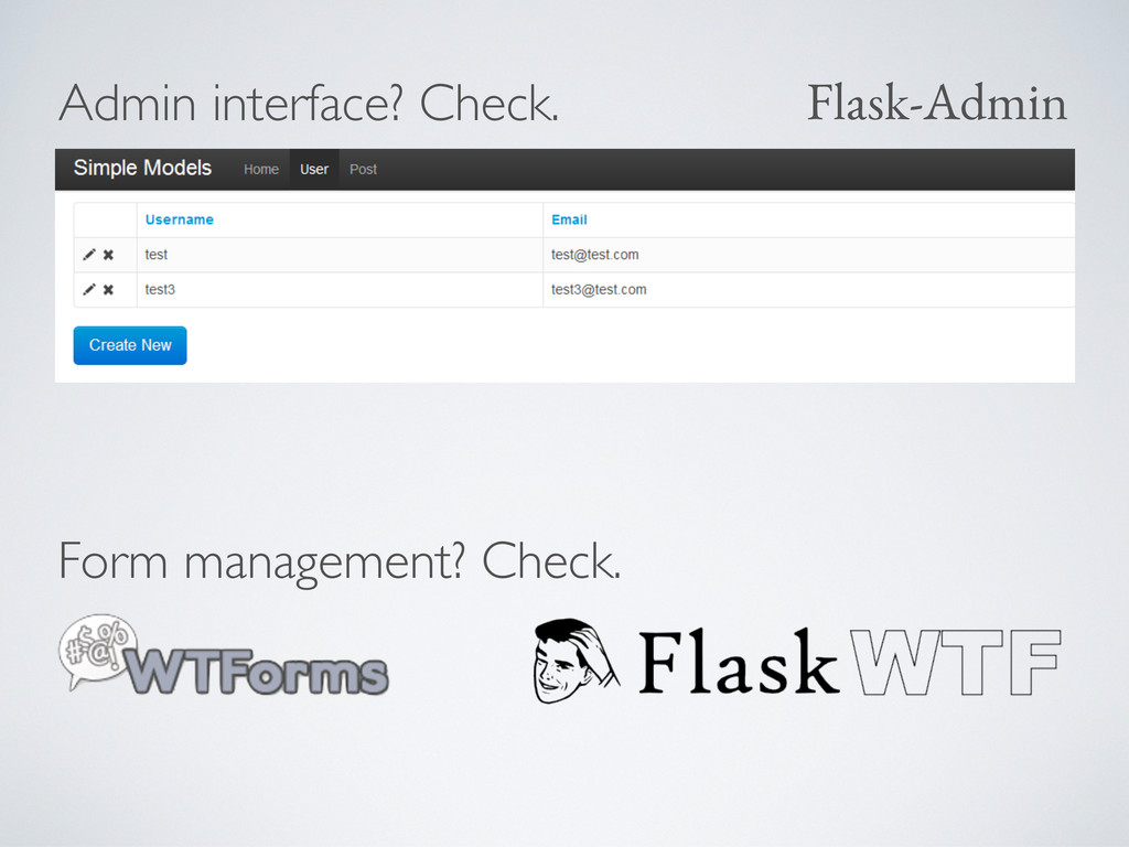 Admin interface? Check. Flask-Admin Form manage...