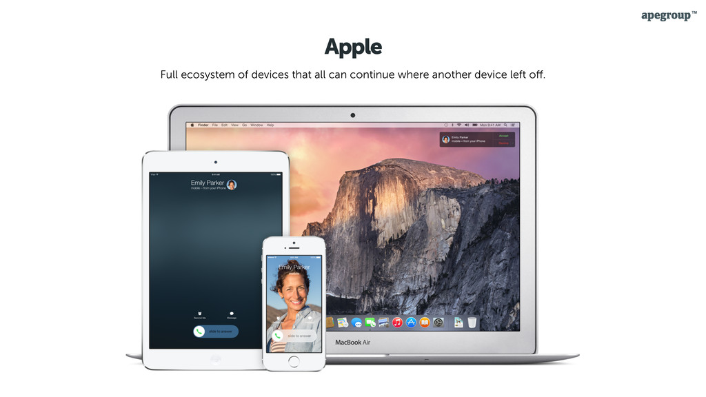 Apple Full ecosystem of devices that all can co...