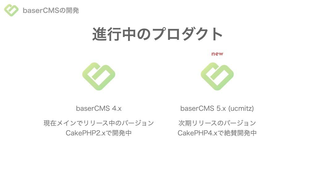baserCMSの開発 進⾏中のプロダクト 現在メインでリリース中のバージョン CakePHP...