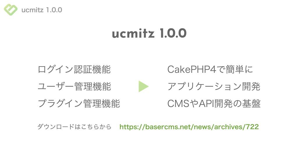 ucmitz 1.0.0 ucmitz 1.0.0 プラグイン管理機能 ユーザー管理機能 ログ...
